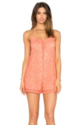 6 Shore Road Sandy Dune Lace Romper Coral