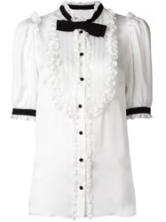Dolce And Gabbana Bow Ruffle Bib Blouse White