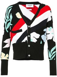 Thom Browne Striped Floral Cardigan Men Cashmere 4 Black