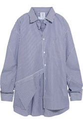 Vetements Comme Des Garcons Packshot Oversized Striped Cotton Poplin Shirt Navy