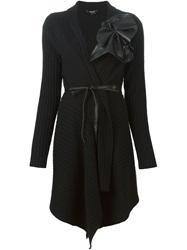 Raoul Leather Applique Ribbed Cardi Coat Black