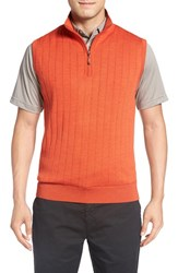 Bobby Jones Men's Quarter Zip Wool Sweater Vest Orange Tango