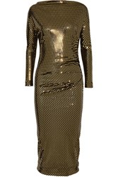 Vivienne Westwood Anglomania Draped Metallic Printed Midi Dress Gold