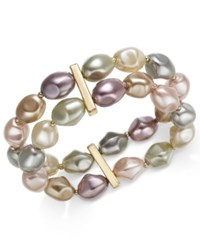Charter Club Gold Tone Imitation Pearl Double Row Stretch Bracelet Gold Multi