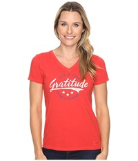 Life Is Good Veteran Gratitude Script Crusher Vee Simply Red Women's T Shirt