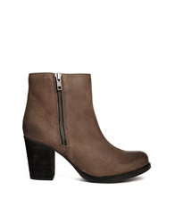 Bertie Prowess Taupe Leather Heeled Boots