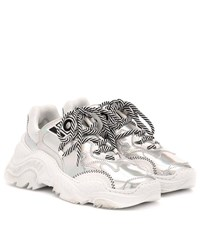 N 21 Billy Metallic Leather Sneakers Silver