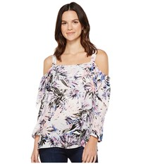 Nydj Cold Shoulder Blouse Martinique Palms Blue Women's Blouse White