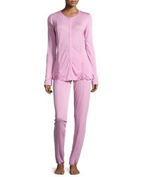 La Perla Windflower Long Sleeve Pajama Set Pink