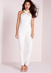 Missguided Mesh Insert Tapered Leg Jumpsuit White White