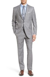 Peter Millar Men's Big And Tall Classic Fit Plaid Wool Suit Light Grey
