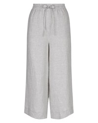 Jaeger Linen Wide Cropped Trousers Grey