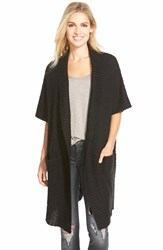 Women's Press Elbow Sleeve Long Textured Cardigan Black