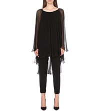 Alberta Ferretti Semi Sheer Silk Chiffon Blouse Black
