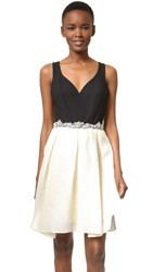 Marchesa Sleeveless A Line Cocktail Dress With Beaded Waist Ivory