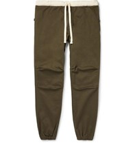Beams Plus Slim Fit Tapered Grosgrain Trimmed Cotton Blend Twill Drawstring Trousers Green