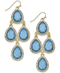 Inc International Concepts Gold Tone Pave And Blue Stone Chandelier Earrings Only At Macy's