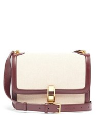Saint Laurent Carre Leather And Canvas Cross Body Bag Beige Multi