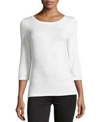 Neiman Marcus Three Quarter Sleeve Tee Ivory