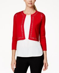 Calvin Klein Petite Embellished Shrug Red
