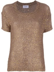 Snobby Sheep Sequin Embroidered Top Brown