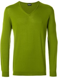 Drumohr V Neck Sweater Green