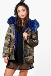 Boohoo Short Camo Faux Fur Lined Parka Blue
