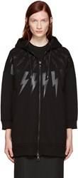 Neil Barrett Black Long Thunderbolt Hoodie