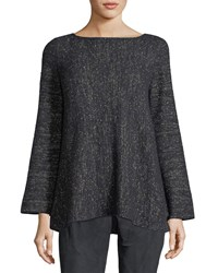 Lafayette 148 New York Bateau Neck Cashmere Blend A Line Sweater Ink Metallic