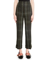 Carven Cropped High Rise Plaid Wool Pants Green