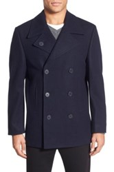 Nordstrom Wool Blend Double Breasted Peacoat Blue