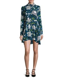 Adam By Adam Lippes Paisley Pattern Silk Shirtdress Blue Blue Pattern