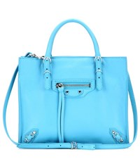 Balenciaga Mini Papier A4 Zip Around Leather Shoulder Bag Blue