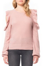 Willow And Clay Women's Cold Shoulder Ruffle Sweater Rose