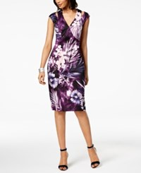 Connected Floral Print Sheath Dress Eggplant