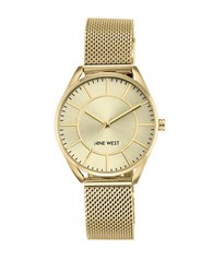 Nine West Stainless Steel Multi Link Analog Watch Gold