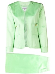 Chanel Vintage Two Piece Skirt Suit Green