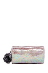 Deux Lux Pom Pom Faux Leather Cosmetic Pouch Purple
