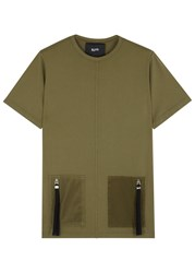 Blood Brother South Olive Zipped Cotton T Shirt Green