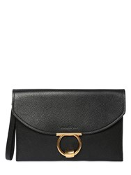 Salvatore Ferragamo Small Grained Leather Clutch Black
