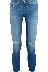Rag And Bone Rag And Bone The Capri Cropped Distressed Low Rise Skinny Jeans Mid Denim