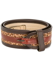 Kenzo Vintage Leopard Print Striped Belt Brown