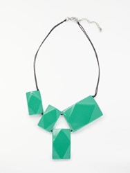 One Button Rectangular Resin Bead Necklace Turquoise
