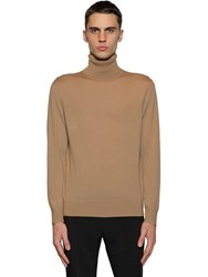Z Zegna Wool Knit Turtleneck Sweater Camel