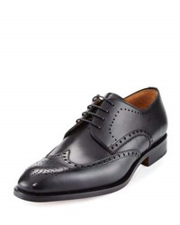 Magnanni Leather Brogue Wing Tip Oxford Black