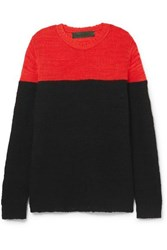 The Elder Statesman Dipped Picasso Two Tone Cashmere Sweater Black