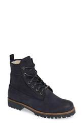 Blackstone Ol22 Lace Up Boot With Genuine Shearling Lining Dark Denim Leather