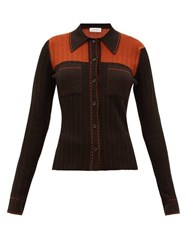 Wales Bonner Knitted Shirt Brown Multi