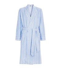 Harrods Brushed Cotton Striped Robe Blue