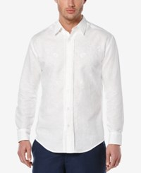 Cubavera Men's Linen Embroidered Long Sleeve Shirt Bright White